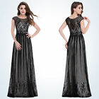 08828BK Women's Elegant Round Neck Long Evening Party Dress