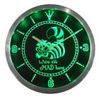 The Cheshire Cat Alice in Wonderland Bar Beer Neon Sign LED Wall Clock 100% HQ
