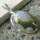 HAND DESIGNED SILVER PLATED PENDANT WITH OCEAN JASPER FROM MADAGASCAR