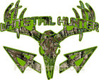 Lime Camo Whitetail Hunter Deer Skull S4 Arrows Vinyl Sticker Decal Buck bow