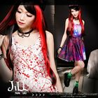 street punk visual art zipper orion galaxy print blood gore shift dress J1M0009