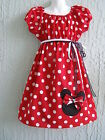 Minnie Mouse Girl Dress Insprd. 60's Red Cotton Size 4-14 yrs Custom SHIP FAST