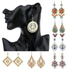 Women's Vintage Bohemian Style Crystal Beads Pendant Hoop Earrings Jewelry