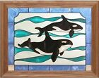 "Silver Creek Killer Whale (Orca)  ~ 13.5"" x 16.5"" Art Glass Suncatcher & Chain"