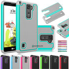 Shockproof Hybrid Rugged Rubber Protective Armor Case Cover for LG Stylo 2 Plus