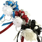 Wrist Corsage - White Corsage with Satin Ribbon and Bling *Pick Ribbon Color*