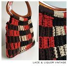 GREAT ROCKABILLY vtg 1950s RED BLACK CROCHET 40s LUCITE PLASTIC HANDLE BAG