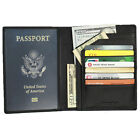 FancyStyle RFID Blocking Passport Holder Genuine Leather Travel Wallet Black Red