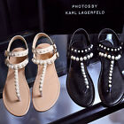 New luxury Womens Sandals Real leather Thong Flip Flops Buckle Beads Flat shoes