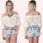 sale BOHEMIAN forever hot LACE BELL SLEEVE OFF THE SHOULDERS CROP TOP 6 8 10 new