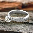 Pave Diamond Engagement Ring 1.43 TCW VS-SI/G-H 14k White Gold Size 5 Enhanced