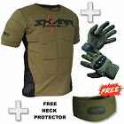 Skarr Paintball Body Armour + Spearhead Gloves OLIVE GREEN + FREE Neck Protector