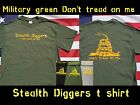Stealth diggers Don't Tread On Me Live Free Or Die T Shirt green Metal Detecting