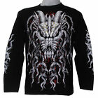 WILD DEVIL ANIMAL GRIM SKULL PUNK HUNTER BIKER CHOPPER PRISON  L/S T-SHIRT