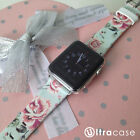 Cyan Rose Floral on Genuine Leather Strap Band for Apple Watch Series 2 38 42 mm