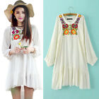 Vintage Women Ethnic White Floral Embroidered Loose Mini Dress Long Sleeve