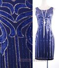 1920's Black Blue Dress Sequin Gatsby Art Nouveau Deco Downton Abbey  RD 4015