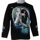 UNICORN BEAUTY MOON GRIM REAPER SKULL HUNTER BIKER CHOPPER PRISON  L/S T-SHIRT
