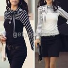Hot Sale Fashion Women's Polo Neck Puff Long Sleeve Stripe T-Shirt Tops Blouses