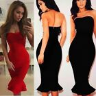 Stylish Womens Off-shoulder Stretch Slim Midi Dress Fishtail Skirt Mermaid Skirt