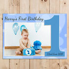 Personalised Boys Blue First 1st Happy Birthday PHOTO Poster Banner N75
