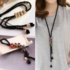 Hot Women's Dress Sweater Necklace Rhinestone Charm Pendant Long Black Chain