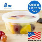 8 oz Heavy Duty Small Round Deli Food/Soup Plastic Containers w/ Lids BPA free