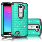 Bling Crystal Hybrid Rubber Case Cover for Leon/ LG C40/Leon LTE/Tribute 2/LS665