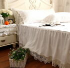 Shabby and Victorian Style White Wide Handmade Crochet Lace Cotton Bed Skirt image