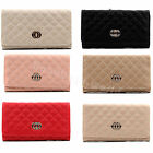 Ladies Faux Leather Quilted Wallet Purse Bag Coin Purse