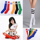 Women Men Stripe Cotton Knee Thigh High Stockings Football Running Sport Socks