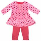 Ex M & S Baby Girls Pink Spotty Dotty Velour Top and Leggings Set N/B 1 3 6 9