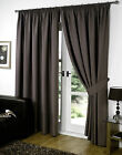 """New 66"""" x 72"""" CHOCOLATE  Faux Silk Curtains. Ready Made Ring Top Pair Curtains"""