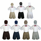 4pc Boy Toddler Formal Burgundy Bow tie Khaki White Black Shorts withHat sz S-4T