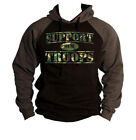 Men's Camo Support Our Troops Raglan Hoodie Sweater Military Army Navy Marines