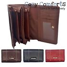 Womens / Ladies Grained Leather Style Organiser Purse - Red, Black, Tan, Brown