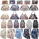 Women Fashion Flower Print Oilcloth Large Tote Bag School Travel Backpack