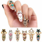 Women Fashion Bowknot Nail Ring Charm Crown Flower Crystal Finger Nail Rings New