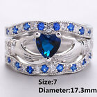 Fashion Lady Claddagh Blue Sapphire 925 Silver Filled Wedding Ring Jewelry Hot