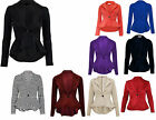 New Women's Plain Crop 1 Button  Peplum Frill Blazer Jacket Coat Top Cardigan