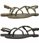 Coach Womens Raine Metallic Gold Grey Gladiator Ankle Strap Thong Sandals