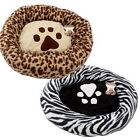 "Round Paw Print Dog Cat Pet Bed Crate  Mat Cushion 23 "" zebra ,Leopard & black"