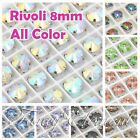 (Small Qty) 8pcs Glass Rivoli Round 1122 8mm All Color Sew On Crystal Beads Gems