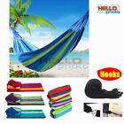 Outdoor Double Hammock Bed Swinging Hanging Tree Camping Strap Hooks Beds Rope