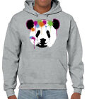 New Men's Panda Paintball Gray Hoodie Street Art Spray Paint Color Drip Sweater
