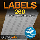 260no. PRINTED ADDRESS LABELS Self Adhesive Return Address PERSONALISED LABELS