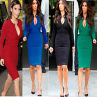Fashion Women Bodycon Evening Cocktail Party Long Sleeve Pencil Mini Dress New