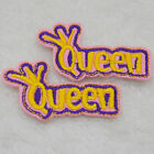 QUEEN letter PINK Embroidered Cloth Iron On Patch Sew Motif Applique badge