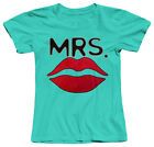 MRS. RED LIPS CUTE FUNNY WIFEY LOVE BRIDE WOMENS FITTED COTTON T-SHIRT