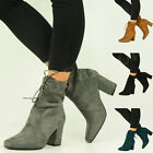 BRAND NEW WOMENS ANKLE BOOTS LADIES MID BLOCK HEEL LACE UP SHOES SIZE UK 3-8